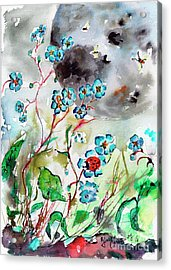 Forget Me Not And Super Moon Watercolor Acrylic Print