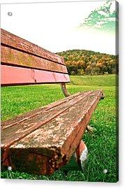 Forgotten Park Bench Acrylic Print by Jennifer Addington