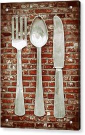 Fork Spoon Knife Acrylic Print by Wim Lanclus