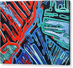 Forked Space - Out Of This World Abstract Acrylic Print by Rayanda Arts