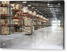 Forklift Moving Product In A Warehouse Acrylic Print by Jetta Productions, Inc