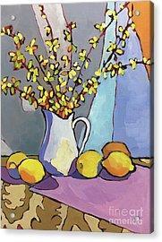 Forsythia And Lemons Acrylic Print by Catherine Martzloff
