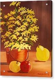 Forsythia Flowers And Fruit Sold Acrylic Print by Ruth  Housley