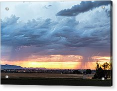 Fort Collins Colorado Sunset Lightning Storm Acrylic Print
