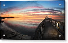 Fort Fisher Sunset Reverie With Heron Acrylic Print