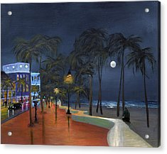 Fort Lauderdale Beach At Night Acrylic Print