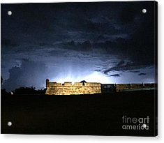 Lightening At Castillo De San Marco Acrylic Print