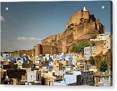 Fort Mehrangarh And Old Town In Jodhpur Acrylic Print by Ania Blazejewska