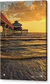 Fort Myers Beach Fishing Pier At Sunset Acrylic Print