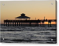 Fort Myers Beach Pier Sunset Acrylic Print