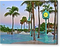 Acrylic Print featuring the photograph Fort Myers Beach Times Square 1 by Timothy Lowry