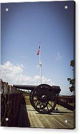 Fort Pulaski Cannon And Flag Acrylic Print