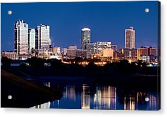 Fort Worth Skyline At Night Poster Acrylic Print