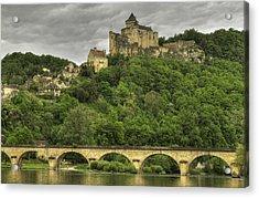 Fortified Castle Of Beynac In Dordogne France Acrylic Print by Arabesque Saraswathi