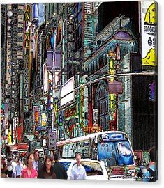 Acrylic Print featuring the photograph Forty Second And Eighth Ave N Y C by Iowan Stone-Flowers