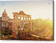 Forum - Roman Ruins In Rome At Sunrise Acrylic Print