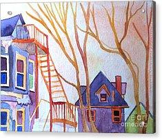 Foster Street Lowell Watercolor Acrylic Print by Debra Bretton Robinson
