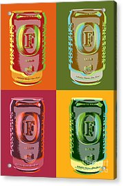 Acrylic Print featuring the digital art Foster's Lager Pop Art by Jean luc Comperat