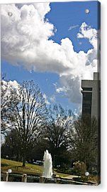 Fountain And Clouds Acrylic Print by Beebe Barksdale-Bruner