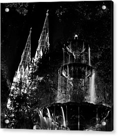 Fountain And Spires Acrylic Print by Renee Sullivan