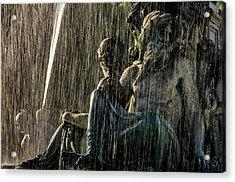 Fountain At Rossio Square Acrylic Print