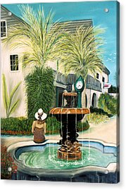 Fountain At St. Augustine Acrylic Print by Jan Amiss