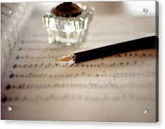 Fountain Pen Atop Sheet Music Acrylic Print by Nico De Pasquale Photography