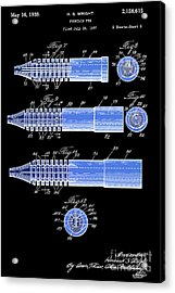 Fountain Pen Patent, Old Art, Year 1939, Black And Blue Acrylic Print by Pablo Franchi