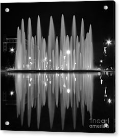 Fountain Reflections Acrylic Print by Lisa Plymell