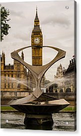 Fountain With Big Ben Acrylic Print