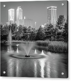 Fountains Under The Tulsa Skyline - Black And White Acrylic Print