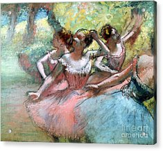Four Ballerinas On The Stage Acrylic Print by Edgar Degas