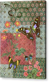 Four Butterfly Patch Green Acrylic Print by JQ Licensing