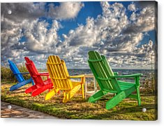 Four Chairs At The Beach Acrylic Print by Debra and Dave Vanderlaan