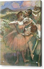 Four Dancers On Stage Acrylic Print by Edgar Degas