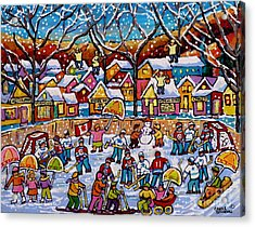 Four Fiddlers On The Roof Tops Hockey Art Snowy Winter Wonderland Skaters Skiers Sleds Umbrellas  Acrylic Print