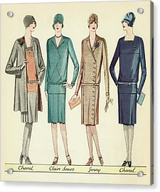 Four Flappers Modelling French Designer Outfits, 1928 Acrylic Print by American School