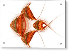 Acrylic Print featuring the digital art Four Fractal Fishies by Richard Ortolano