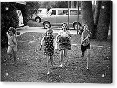Four Girls Racing, 1972 Acrylic Print