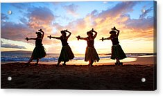 Four Hula Dancers At Sunset Acrylic Print