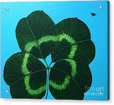 Four Leaf Clover And Seven Ladybugs Acrylic Print by Barbara Griffin