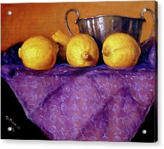 Acrylic Print featuring the painting Four Lemons by Donelli  DiMaria