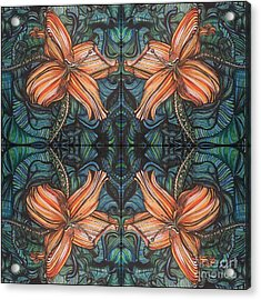 Four Lilies Looking In Acrylic Print