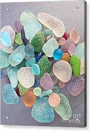 Four Marbles And A Rainbow Of Beach Glass Acrylic Print