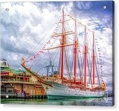 Four Masted Schooner In Port Acrylic Print