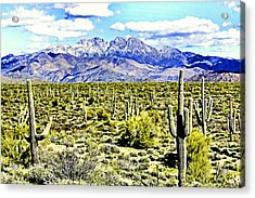 Four Peaks Acrylic Print by Sharon Broucek
