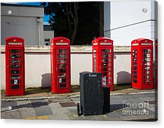 Four Phone Booths In London Acrylic Print by Inge Johnsson