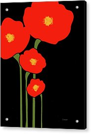 Four Red Flowers On Black Acrylic Print