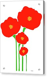 Four Red Flowers Acrylic Print