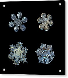 Four Snowflakes On Black 2 Acrylic Print